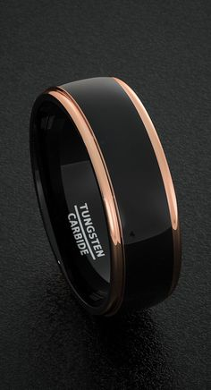 Mens Tungsten Wedding Bands 8mm Mens Ring Two Tone Black Polished with Rose Gold Step Edge Comfort Fit