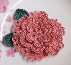 Crochet Flower With Leaves In 3 inches in Dusty Rose ♥ by YHcrochet, $3.20