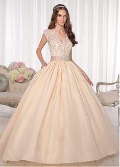 Gorgeous Satin & Organza Sweetheart Neckline Natural Waistline Ball Gown Weding Dress