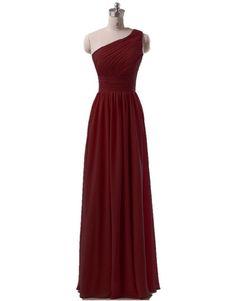 KaiDun Women's One Shoulder Chiffon Long Formal Prom Ball Gown Bridesmaid Dress Burgundy 6