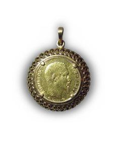 pendentif or jaune 750/oo pièce de 20 francs Napoléon III année 1859 montrant le visage de l'Empereur