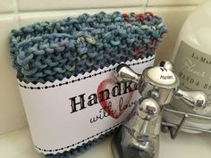 Hand knitted spa cloth (blue) £4.00