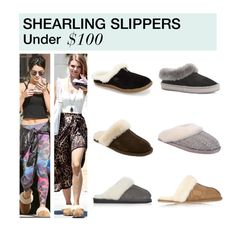 """Under $100: Shearling Slippers"" by polyvore-editorial ❤ liked on Polyvore featuring Topshop, Patricia Green, Australia Luxe Collective, SOREL, UGG Australia, under100 and shearlingslippers"