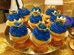 Check out the gorgeous cupcakes at this Royal Prince Birthday Party! Love the little crown toppers! See more party ideas and share yours at CatchMyParty.com