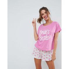 Asos Bridal Bride S Besties Tee Short Pyjama Set 31 Aud Liked On Polyvore Featuring Intimates Sleepwear Pajamas Multi Jersey