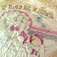 Vintage Florida Tourism Scarf Vintage Silk Scarf Featuring a pin up girl and historical Florida landmarks. Hell yes! Sorry bout the wrinkles! Vintage Accessories Scarves & Wraps