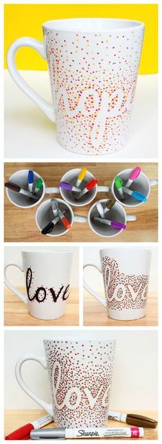 DIY Dotted Sharpie Mugs Using Dollar Store Mugs-this would be fun for Christmas activity. Kids could make their own hot chocolate mugs. (Hobbies To Try Dollar Stores)