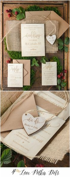 Wooden engraved wedding invitation with burlap wrapping #wood #wooden #nature #boho #bohemian #calligraphy #weddingideas #eco