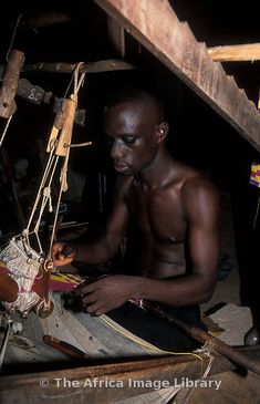 Weaving Kente cloth in Ghana