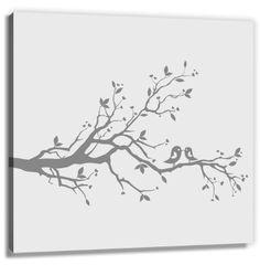 Fingerabdrücke der Hochzeitsgäste auf Leinwand - Hochzeitstauben grau - das völlig neue Gästebuch auf 60x60 cm Leinwand als Hochzeitsbaum (f...