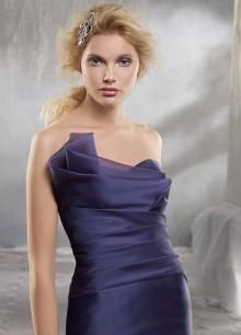 Organza Trumpet Long Bridesmaid Dress with Draped Strapless Sweetheart Neckline