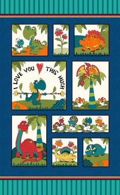 Multi Dino Panel 24in x 44in I Love You This Much by Leanne & Kaytlyn Anderson