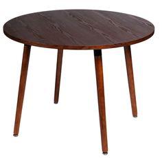 Stół Copine 100 cm, orzec, drewniane nogi, styl norweski nordycki klasyczny, okrągły blat