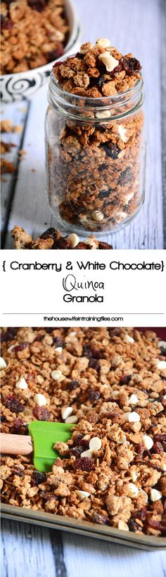 A naturally sweetened granola with tart cranberries and white chocolate morsels are the perfect snack or breakfast! #glutenfree #granola #healthy