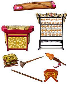 CHINA II  1.- Guzheng: chordophone / zither family. 2.-Yangqin: chordophone / zither family. 3.- Yunluo: idiophone. 4.- Yu: idiophone. 5.- Suona: aerophone / double reed. 6.- Hulusi: aeroophone.  7.-Bawu: aerophone / air reed instrument.   8.-Paixiao: aerophone / air reed
