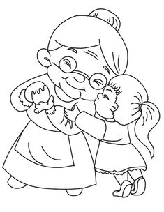 Grandmother Kissed By Her Granddaughter Coloring Pages : Color Luna Zoo Animal Coloring Pages, Dinosaur Coloring Pages, Cars Coloring Pages, Coloring Pages For Girls, Coloring Books, Mothers Day Coloring Pages, Free Online Coloring, Hello Kitty Coloring, Outline Drawings