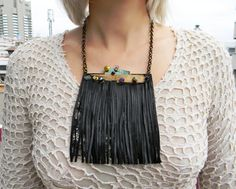 Black leather fringe necklace with Jasper and by Elyseeart on Etsy