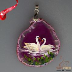 HAND PAINTED SWAN AGATE SLICE GEMSTONE NECKLACE PENDANT ZL8017690 #ZL #PENDANT