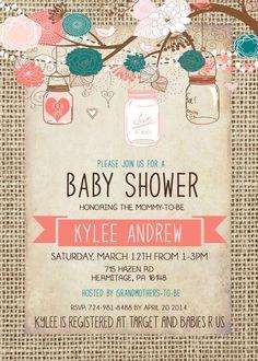Burlap Baby Shower Girl Invitation Mason Jar Pink by Silvergaze