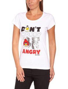 Angry Birds - Camiseta de Angry birds con cuello redondo de manga corta para mujer, talla 40, color blanco #camiseta #starwars #marvel #gift