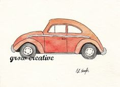 Original watercolor paintings of Volkswagen Beetles by Elise Engh Diy Art Projects, Craft Projects For Kids, Beetle Drawing, Peace And Love, Fun Crafts, Watercolor Paintings, Crochet Patterns, Bicycles, Creative