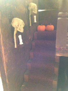 Up the spooky stair case in my haunted spooky witches house scale Design Projects, Projects To Try, Haunted Dolls, Witch House, House Made, Dollhouse Miniatures, Stair Case, Witches, Pallet