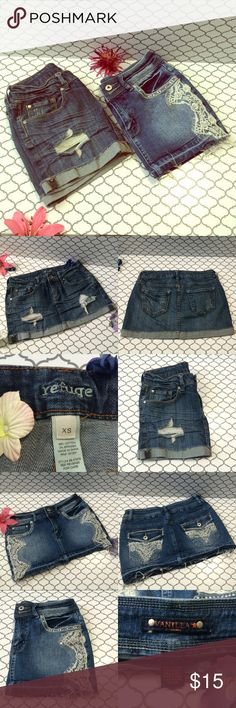 Skirt bundle Two super cute denim skirts! One is size XS and the other is size 5 but I would say they both fit like 4. No trades. No ️️. No Ⓜ️ercari. Ask me about bundles  Offers submitted via the offer button are always considered Vanilla Star Skirts Mini