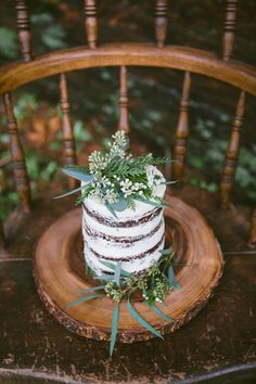 Naked cake | Simply Rose Photography | see more on: http://burnettsboards.com/2015/01/forest-fern-evergreen-bridal-session/