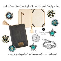 Host a social and earn FREE Jewelry - details here - http://www.mymagnoliaandvine.com/MARIALINDQUIST/content/host_social.aspx