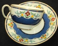 Minton England Blue White Lacquer Tea Cup and Saucer | eBay
