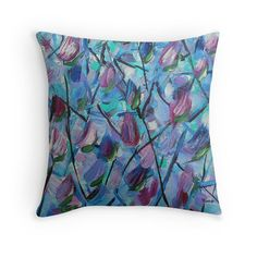 Throw Pillow abstract design teal blue mauve couch by ArtbyKatsy