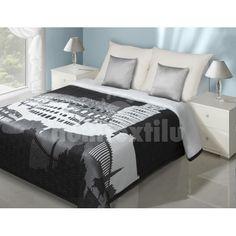 Čierny prehoz na posteľ s pamiatkami Furniture, Home Decor, Alcove, Gray, Homemade Home Decor, Home Furnishings, Decoration Home, Arredamento, Interior Decorating