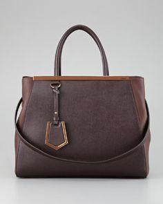 V1JLW Fendi 2Jours Calfskin Tote Bag, Dark Brown