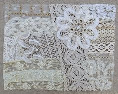 Vintage & Antique Lace Collage, No. 15 ... Embellishment for crazy quilting, heirloom sewing, fabric art, journals, assemblage, multi media