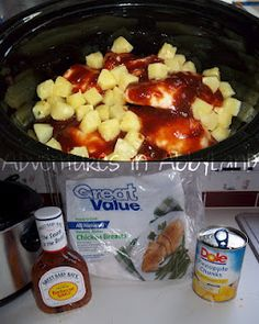 Crockpot Hawaiian BBQ Chicken: frozen boneless chicken breasts, 1 bottle of BBQ sauce, 1 can of pineapple chunks, drained. Directions: Place the frozen chicken breasts in the crockpot. Add entire bottle of BBQ sauce, covering the chicken. Crock Pot Recipes, Crock Pot Food, Crockpot Dishes, Crock Pot Slow Cooker, Slow Cooker Recipes, Cooking Recipes, Crockpot Meals, Kid Recipes, Crock Pots