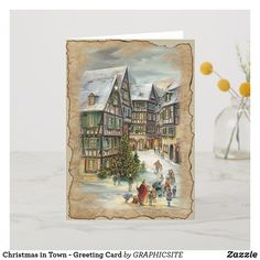 Christmas in Town - Greeting Card - vintage romantic gifts ideas diy Christmas Greeting Cards, Christmas Greetings, Holiday Cards, Snow Holidays, Romantic Gifts, Holiday Photos, Vintage Gifts, Vintage World Maps, Merry