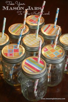 1-mason-jars-party-decoration http://www.meaningfulmama.com/2013/04/decorative-mason-jar-lids-with-cute-straws.html