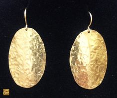 Hammered NuGold Oval Earrings ModernMetal ArtisanWear