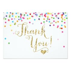 #pink - #Confetti Gold Glitter Thank You Card