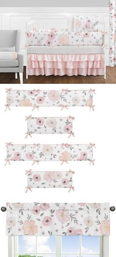 Nursery Bedding Sets 162040: Jojo Shabby Chic Blush Pink Gray Floral Watercolor Girl Baby Bedding Crib Set -> BUY IT NOW ONLY: $169.99 on eBay!