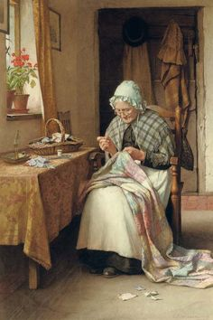 It's About Time: Older Women Sewing Charles Edward Wilson (British painter, Making a Patchwork Quilt Paintings I Love, Beautiful Paintings, Vintage Prints, Vintage Art, Images Vintage, Illustration Art, Illustrations, Sewing Art, Oeuvre D'art