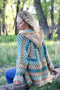 Believe it or not, two simple granny hexagons are the foundation of this free crochet hexagon sweater pattern.