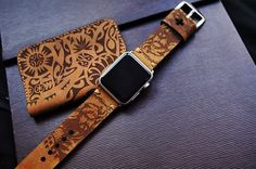 Guan Yu Engraving Custom Made Leather Strap incl. Lugs Adapter for Apple Watch (Steel,Alu,Space Gray) 42mm or 38mm