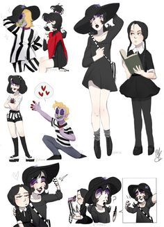qtarts: Some style practices from the last day or so of BeetleJuice and Lydia from the animated series, Ft Wednesday Addams because these goth beauties will forever have a place in my heart Tim Burton Characters, Tim Burton Films, Character Inspiration, Character Art, Character Design, Beetlejuice Cartoon, Chica Punk, Drawn Art, Fanart