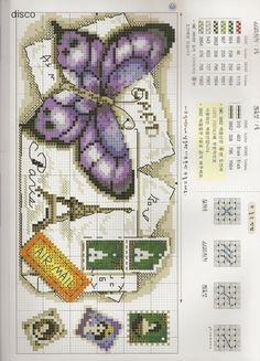 Sweet home : Tikitud liblikad kirjaümbrikul. Cross Stitch Boards, Cross Stitch Love, Cross Stitch Needles, Cross Stitch Animals, Cross Stitch Designs, Cross Stitch Patterns, Cross Stitching, Cross Stitch Embroidery, Embroidery Patterns