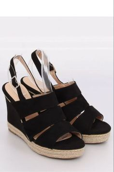 Sandals on wedge heels black 9069 Black Black Wedge Sandals, Black Wedges, Wedge Heels, Women's Shoes Sandals, Types Of Heels, Suede Leather, Fashion Shoes, Espadrilles, Design