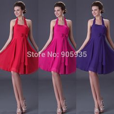 Cheap Bridesmaid Dresses, Buy Directly from China Suppliers:Cheap Charming Halter Knee Length Short Red Pink Purple Bridesmaid Dress not Expensive&nbs