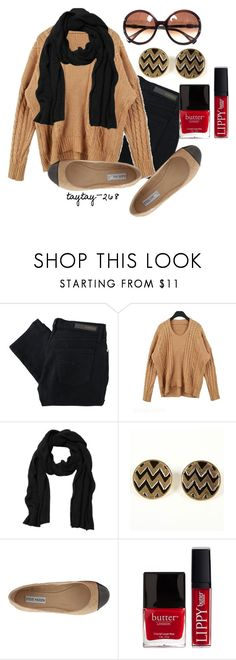 """Black & Tan"" by taytay-268 ❤ liked on Polyvore featuring Nobody Denim, Monki, Steve Madden, Butter London, Lanvin, ballet flats, skinny jeans, skinny pants, chunky sweaters and statement scarves"