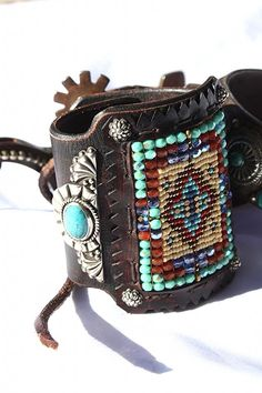 Heirloom Quality Chili Rose Navajo Sterling & Seedbead Bow Guard Cuff!