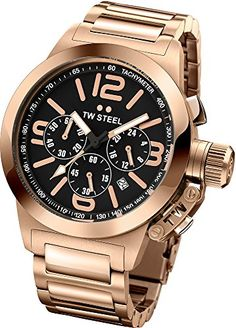 Men's Wrist Watches - TW Steel Canteen Black Dial Chronograph Rose Gold PVD Stainless Steel Mens Watch TW307 * You can find out more details at the link of the image.